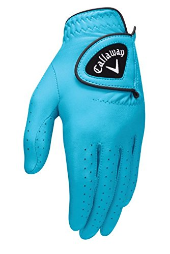 Callaway Golf 2017 Women's OptiColor Leather Glove, Aqua, Medium, Worn on Left ()