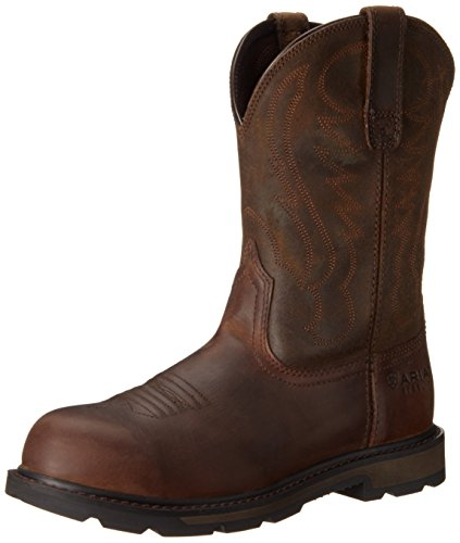 Ariat Men's Groundbreaker Pull-On Steel Toe Work Boot, Brown, 9.5 2E US ()
