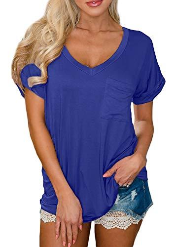 Women Cotton Casual Solid Color Short Sleeve Tops Pocket V Neck Basic Loose Fit Summer T Shirt Blue L