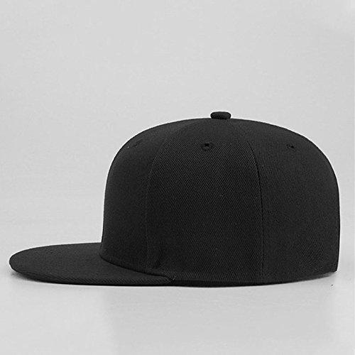 Casual Baratos Gorras de Hip Snapback Gorras Cool Plano Hop Hats Sólido Hat Hop Hombre SLGJ Tapa Hip Planas Béisbol Negro Mujeres ZqAw7