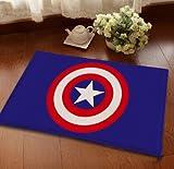 23 X 15 Inch Blue Captain America Bath Mat, Red Superhero Bathroom Mat Comics Themed Anti Slip Bath Rug Avengers Super Hero, White Adhesive-proof Waterproof Soft, Suede