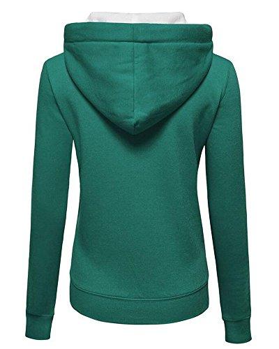 Maniche Felpa Casual Verde Donna Zhuikun E Cappuccio Basic Con Lunghe Zip ZUaYZnqEwx