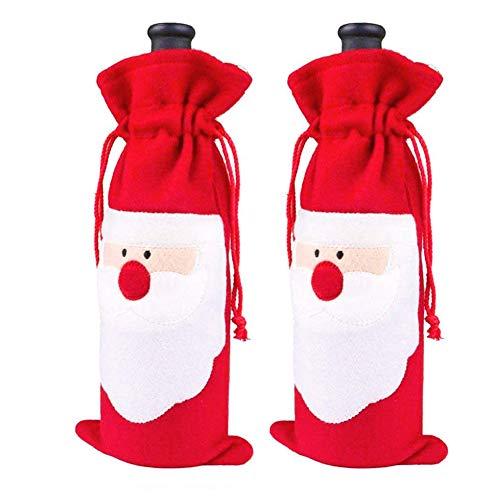 HAKDAY Santa Claus Bottle Decoration Red Wine Bottle Cover Wine Bottle Bag, 2 ()
