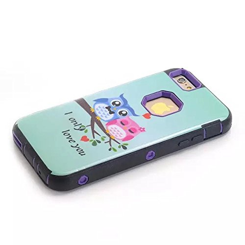 6s Plus-hülle, iPhone 6 Plus-Kasten, Lantier Eulen Liebe [Hybrid 3 in 1 Stoßfestes Shockproof Schutz] Silicone & Plastic Defender Heavy Duty Rüstung Combo-Kasten für Apple iphone 6s Plus-Mint Green