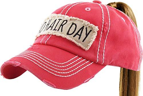 (PONY-100 HPK Bad Hair Day Ponytail Messy High Bun Adjustable Cotton Baseball Cap )