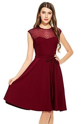 Zeagoo Women's A-Line Mesh Sleeveless Pleated Empire Waist Party Dress with Belt