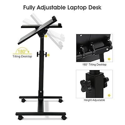 LANGRIA Laptop Cart Mobile Computer Desk , 360° Swivel and 180° Tilt Spliting Tabletop, Height Adjustable 23.6 to 35.4 inches, Lockable Casters, Black Walnut