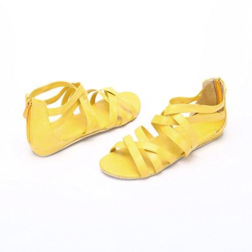 Women's Flat Sandals Gladiator Ankle-Wrap Flats Zip Sandals Yellow bBWwZ9U1k