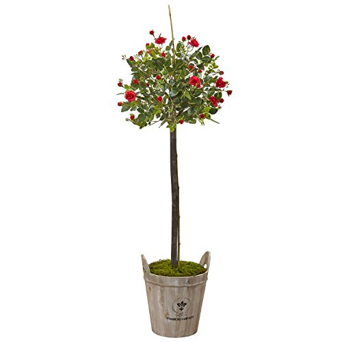 - Nearly Natural 5964 4.5' Rose Topiary with Farmhouse Planter