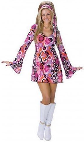 Mujer Disfraz 60 años 70 Color Rosa Feeling Groovy Hippy Chick ...