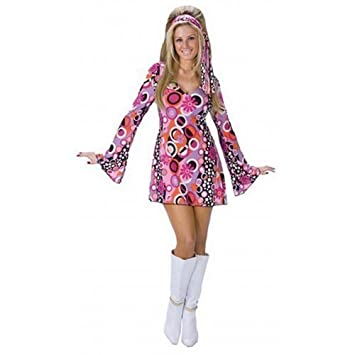 6ea44b105d09 Ladies Sexy 60s 70s Decades Pink Feeling Groovy Hippy Chick Fancy Dress  Costume Outfit (UK 10-12): Amazon.co.uk: Toys & Games