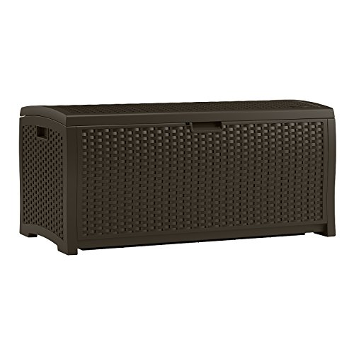 (Suncast 73 Gallon Resin Wicker Patio Storage Box - Waterproof Outdoor Storage Container for Toys, Furniture, Yard Tools - Store Items on Deck, Porch, Backyard - Mocha)