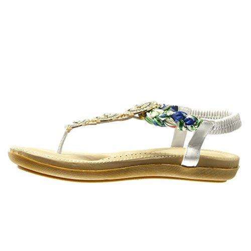 Sandale Tong Chaussure Angkorly Salomés Bijoux Tréssé Blanc Mode cm 2 Talon Plat Femme xRERwt4