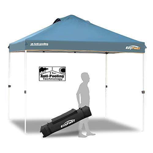 EzyFast Patented Anti-Pooling Instant Beach Canopy Shelter for Rain or Sunshine, Portable 10ft x 10ft Straight Leg Pop Up Shade Tent with Wheeled Carry Bag (Best Pop Up Tent For Rain)