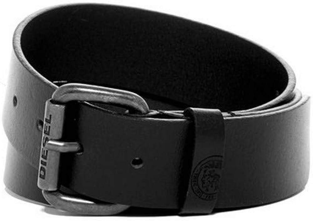 Diesel Mens Vintage Buffalo Leather Belt with Pewter Buckle Dark Brown Size 32