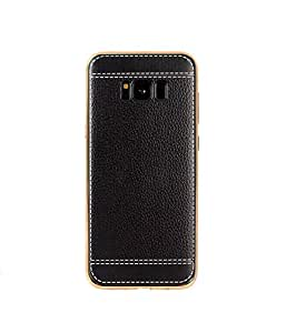 Business style Samsung Galaxy S8 case litchi pattern tpu soft phone shell anti fall protective sleeve black