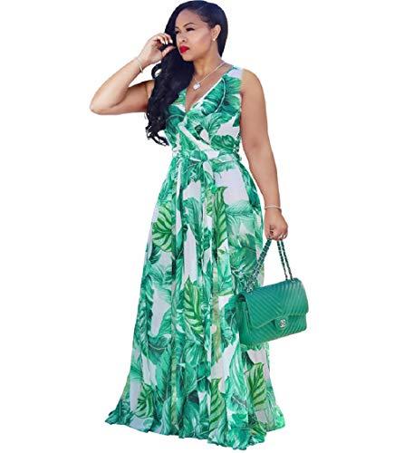 Dora's Womens See Through Deep V Neck Printed Floral Maxi Long Dress Lining Dresses Waistbacd Plus Size