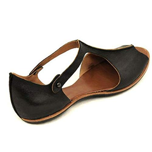 (Women's Faux Leather Sandal Open Toe Cut Out Slip On Flats Casual Summer Shoes Black)