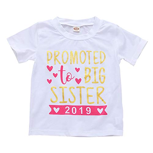 WINZIK Little Baby Girls Kids Toddlers Outfits Big Sister Print T-Shirt Pullover Tee Tops Clothes Costume Gift (2-3 Years, Promoted to Big Sister-White) -