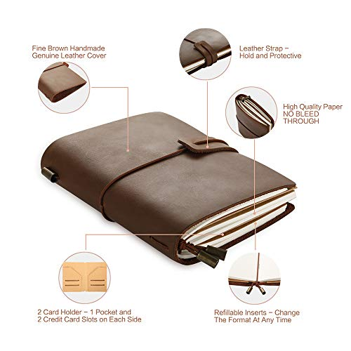 Leather Journal Refillable Travel Journal - Fine Brown Hand Made Leather Daily Notebook for Men & Women, Perfect to Write in, Small Size Easy for Carry, Best Gift for Travelers, 5 × 4 Inches