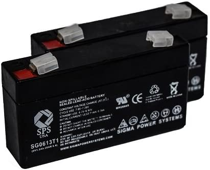 SPS Brand 6V 1.3Ah Replacement Battery for Ajc AJC-C1.3S 2 Pack