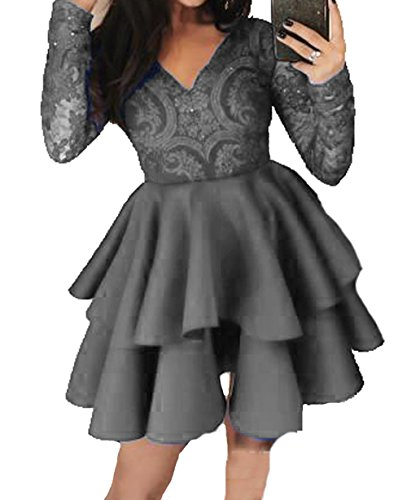 Prom Off BessDress Short The Dresses Lace Grey Shoulder Homecoming Dresses 3 Style BD448 HHqw05rI