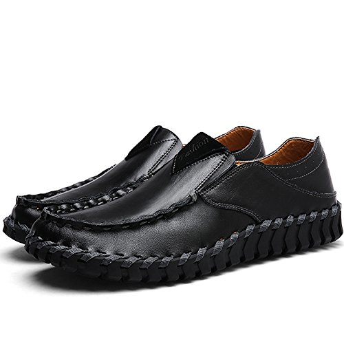Slip On Genuine Shoes Casual Leather Black62 Loafers Men's Premium LakeRom vxXqn716