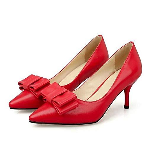 Aguja Nappa Zapatos Pump Beige Fall de de Mujer ZHZNVX Red Talones Rojo Tacón Leather Basic Negro tPBF1xqwx