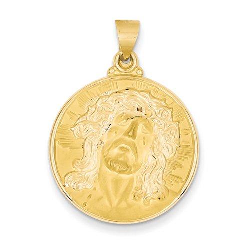 Icecarats Tête Créatrice De Bijoux De 14K Du Christ Pendentif Ronde Des Médailles