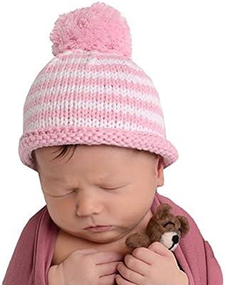 e49d43ea2 Huggalugs Pink Stripe Pom Pom Nursery Beanie Newborn Girls: Amazon ...