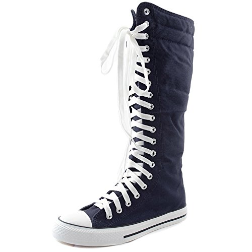 Women's Tall Canvas Lace Up Punk Sneaker Flat Knee High Boots