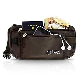 Boxiki Travel Money Belt – RFID Blocking Money Belt | Safe Waist Bag, Secure Belt for Men and Women, Fits Passport, Wallet, Phone and Personal Items. Running Belt, Fanny and Waist Pack