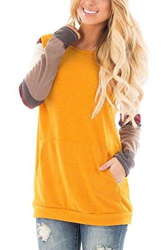 Smibra Womens Causal Long Sleeve Crew Neck Color Block Tunic Shirt Blouse Top Yellow Large by Smibra