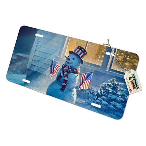 - Graphics and More Patriotic Snowman American Flag Christmas Novelty Metal Vanity Tag License Plate