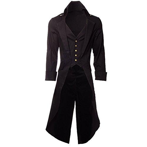 Steampunk Men's Grim Long Coat - Small, Black