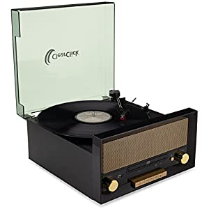 ClearClick All-in-One Turntable with CD Player, FM Radio, Bluetooth, Aux-in, & USB – Vintage Retro Modern Design (Black)