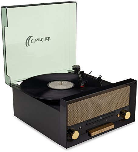 ClearClick All-in-One Turntable with CD Player, FM Radio, Bluetooth, Aux-in, & USB - Vintage Retro Modern Design (Black) 4