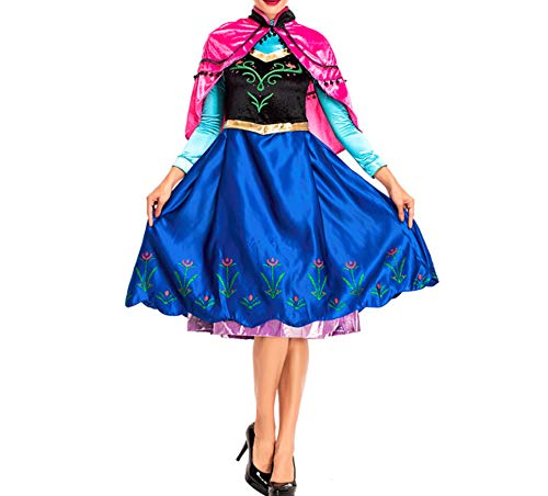 Anna Frozen Dress Adults (Mitef Anime Cosplay Costume Princess Anna Fancy Dress with Shawl for Adult,)