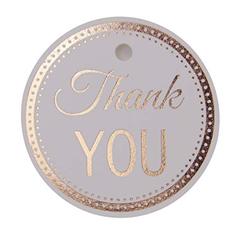 Thank You Tags, Gift Tags, Rose Gold Foil, 30-Pack, Party Hearts Collection (Rose Gold Tags Round Circle 4)
