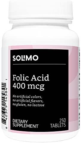 Amazon Brand - Solimo Folic Acid 400 mcg, 250 Tablets, More Than Eight Month Supply
