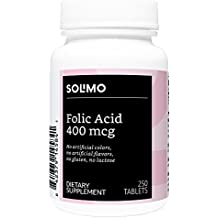Amazon Brand - Solimo Folic Acid 400mcg, 250 Tablets, More Than Eight Month Supply