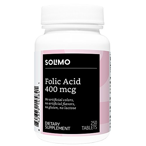 Amazon Brand - Solimo Folic Acid 400 mcg, 250 Tablets, More Than Eight Month ()