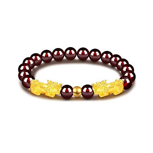 Feng Shui Amulet Bracelet Porsperity 8mm Red Garnet Bead Bracelet with 2 Gold Plated Pi Xiu/Pi Yao Lucky Wealthy Brecelet