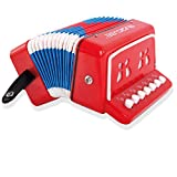 MUSICUBE 10 Keys Accordion, Kids Toy Accordion, Solo and Ensemble, Musical Instrument for Early Childhood Teaching, Red