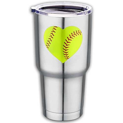 I-LOVE-SOFTBALL-HEART-Stainless-Steel-Tumbler-With-Spill-Proof-Straw-Lid-Double-Wall-Vacuum-Insulated-Travel-Mug-30-Oz-Keeps-Drinks-Hot-Or-Cold-For-Days-Fits-Car-Cup-HoldersCoffee-Mug