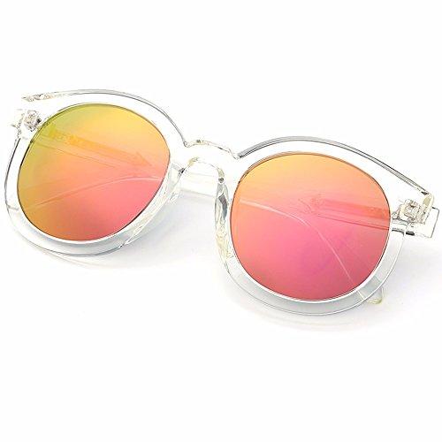 gafas gafas Gafas de brillo Rosa personalizadas marco XIAOGEGE de Rosa retro de de redondo sol mujer alto espejo 4PwY6qd