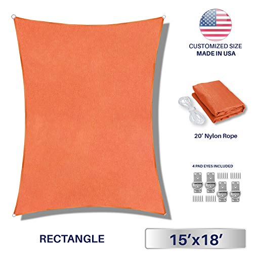Windscreen4less 15 x 18 Rectangle Sun Shade Sail – Solid Orange Durable UV Shelter Canopy for Patio Outdoor Backyard with Free 4 Pad Eyes – Custom Size