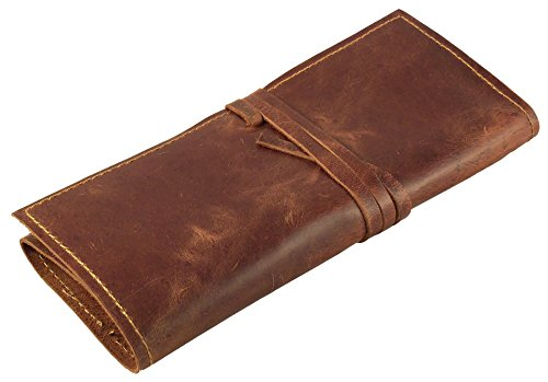 Rustic Genuine Leather Pencil Roll - Pen and Pencil Case by Rustic Ridge Leather - Brown by Rustic Ridge Leather