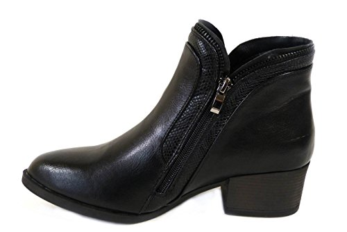 LADIES WOMENS COWBOY CHELSEA ANKLE RIDING BIKER BLOCK HEEL COMBAT DISTRESSED WORKER LACE UP FLAT ZIP BOOTS SHOES SIZE 3 4 5 6 7 8 Black (309423) MjgwZ
