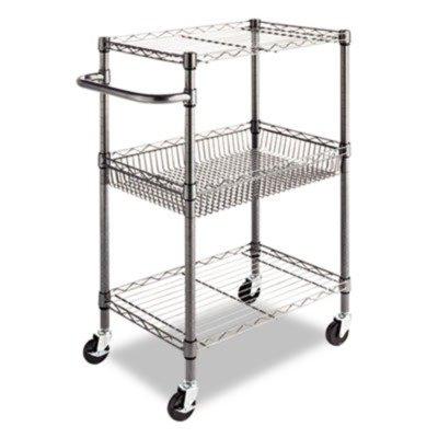 (Alera 3-Tier Wire Rolling Cart, 3-Tier Wire Rolling Cart,28w x 16d x 39h, Black)